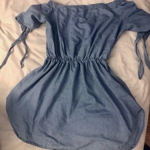 NWOT Denim Off-The-Shoulder Dress Cinched Waist